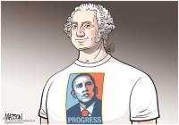 George Washington Wearing Obama's Progress T-Shirt